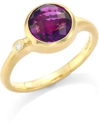 Carelle - Amethyst & Diamond Stack Ring - Lyst