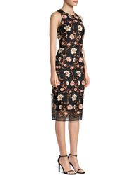 Laundry by Shelli Segal - Floral Mesh Cocktail Sheath Dress - Lyst