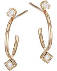Zoe Chicco - 14k Yellow Gold & Diamond Thin Huggie Hoop Earrings - Lyst