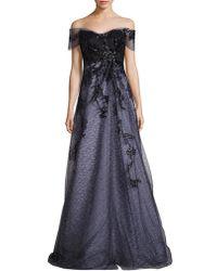 Rene Ruiz - Off-the-shoulder Embellished Gown - Lyst