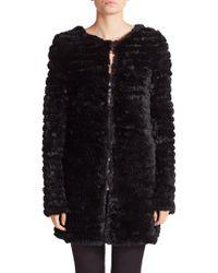 Adrienne Landau | Knit Rabbit Fur Coat | Lyst