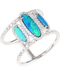 Meira T - Diamond, Opal & 14k White Gold Ring - White Gold - Size 7 - Lyst