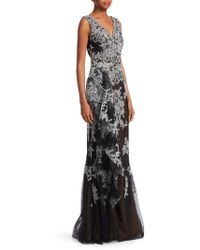 David Meister - Sleeveless Floral Gown - Lyst
