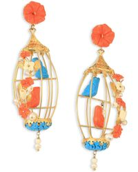 Of Rare Origin | Lovebirds Coral, Turquoise, Bone & Freshwater Pearl Drop Earrings | Lyst