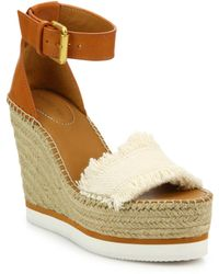 See By Chloé - Glyn Leather & Frayed Canvas Espadrille Wedge Platform Sandals - Lyst