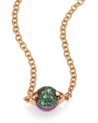 Pomellato - M'ama Non M'ama Amethyst, Tsavorite & 18k Rose Gold Pendant Necklace - Lyst