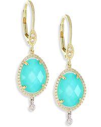Meira T - Diamond, Turquoise Doublet & 14k Yellow Gold Drop Earrings - Lyst