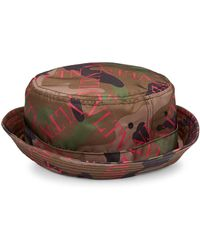 5163fedaae7 Valentino - Men s Logo Camo Bucket Hat - Army Green Pink - Size Large - Lyst