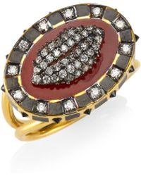 Holly Dyment | Diamonds & 18k Yellow Gold Glam Lip Ring | Lyst