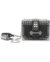 9e2518e7549ef1 Prada - Women's Small Cahier Studded Leather Crossbody Bag - Black - Lyst