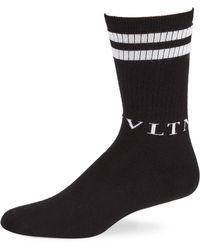 Valentino - Double-stripe Crew Socks - Lyst