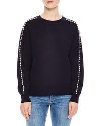 Sandro - Wool-blend Embellished Crewneck Sweater - Lyst