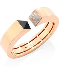 Roberto Coin - Prive Pyramid Pave Diamond, Black Jade & 18k Rose Gold Bangle - Lyst