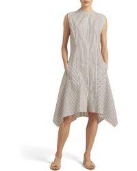 Donna Karan - Striped A-line Dress - Lyst
