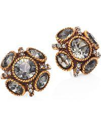 Oscar de la Renta - Classic Crystal Button Stud Earrings - Lyst