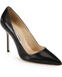 Manolo Blahnik - Bb 105 Leather Point-toe Court Shoes - Lyst