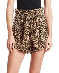 Nanushka - Leopard Print Paperbag Shorts - Lyst
