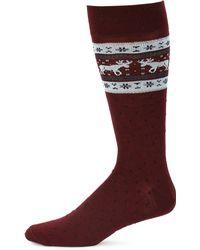 Saks Fifth Avenue - Collection Top Moose Fairisle Dress Socks - Lyst
