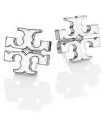 Tory Burch - T-logo Stud Earrings/silvertone - Lyst