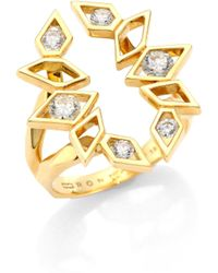 Ron Hami - 18k Gold & Diamond Cutout Ring - Lyst