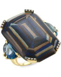 Silvia Furmanovich - Marquetry Light Brown Diamonds, Blue Topaz & 18k Yellow Gold Ring - Lyst