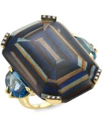 Silvia Furmanovich - Marquetry Light Brown Diamonds, Green Tourmaline & 18k Yellow Gold Ring - Lyst