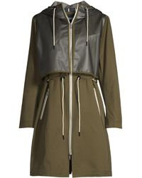 Jane Post - Women's Hooded Patchwork Raincoat - Olive - Lyst