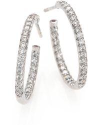 Roberto Coin - Diamond & 18k White Gold Inside-outside Hoop Earrings/0.75 - Lyst