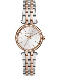 Michael Kors - Darci Petite Pave Two-tone Stainless Steel Bracelet Watch - Lyst