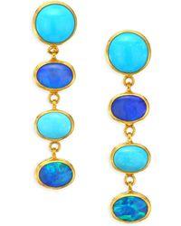 Gurhan - Amulet Hue 24k Gold, Turquoise & Opal Long Drop Earrings - Lyst