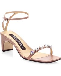 Sergio Rossi | Embellished Leather Ankle-strap Sandals | Lyst