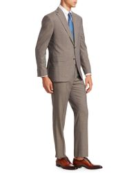 Saks Fifth Avenue - Men's Collection Crosshatch Two-button Wool Suit - Taupe - Size 48 L - Lyst