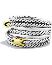 David Yurman - Sterling Silver 18k Yellow Gold Cable Ring - Lyst