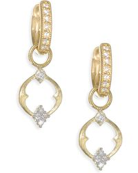 Jude Frances - Small 18k Gold & Diamond Open Moroccan Quad Circle Earring Charms - Lyst
