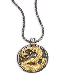 Konstantino - Zodiac 18k Gold, Sterling Silver & Diamond Aquarius Pendant - Lyst