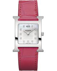 Hermès | Heure H Mm Diamond, Stainless Steel & Alligator Strap Watch | Lyst