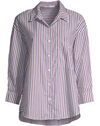 Stateside - Women's Striped Oxford Button-down Shirt - Wine Navy - Size Large - Lyst