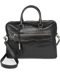 Saint Laurent - Crocodile Embossed Leather Briefcase - Lyst