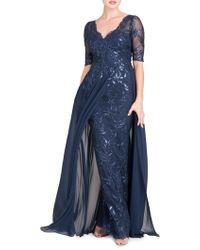 Teri Jon - Women's Layered Chiffon & Sequin Gown - Navy - Size 8 - Lyst