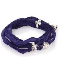 King Baby Studio - Sterling Silver & Silk X Wrap Bracelet - Lyst