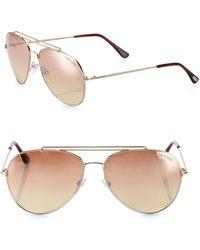 Tom Ford - Indiana 58mm Mirrored Aviator Sunglasses - Lyst