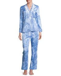 Oscar de la Renta - Printed Cotton Sateen Pyjama Set - Lyst