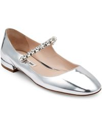 Miu Miu - Crystal Embellished Patent Leather Mary Jane Flats - Lyst