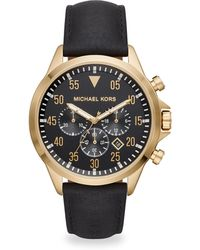 Michael Kors - Gage Goldtone Chronograph Leather Strap Watch - Lyst