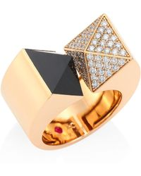 Roberto Coin - Prive Pyramid Diamond, Black Jade & 18k Rose Gold Ring - Lyst