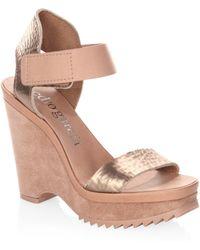 Pedro Garcia | Franses Leather Platform Wedge Sandals | Lyst