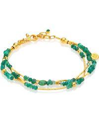 Gurhan - Delicate Rain Emerald & 24k Yellow Gold Triple-strand Bracelet - Lyst