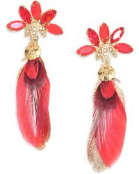 Gas Bijoux - Sacha Feather Drop Earrings - Yellow Gold - Lyst
