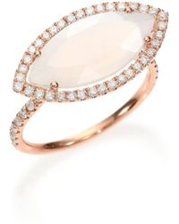 Meira T - Chalcedony, Mother-of-pearl Diamond & 14k Rose Gold Doublet Marquis Ring - Lyst