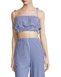 MDS Stripes - Taylor Stripe Cropped Cotton Camisole - Lyst